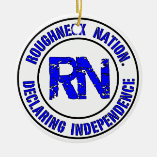ROUGHNECK NATION LOGO ROUND CERAMIC ORNAMENT
