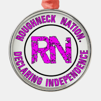 ROUGHNECK NATION LOGO Silver-Colored ROUND ORNAMENT