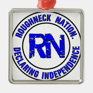 ROUGHNECK NATION LOGO Silver-Colored SQUARE ORNAMENT