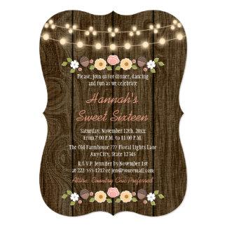 Rougissent la ficelle du bonbon rustique 16 à carton d'invitation  12,7 cm x 17,78 cm