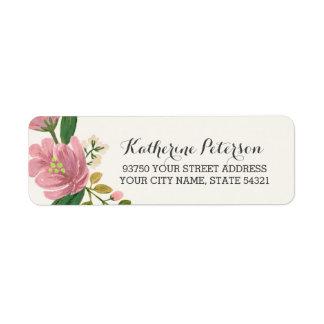 Rougissent le bouquet étiquette d'adresse retour