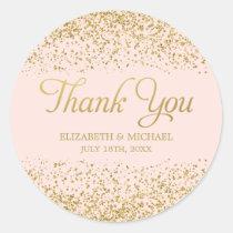 Rougissent le Merci rose de mariage de Sticker Rond