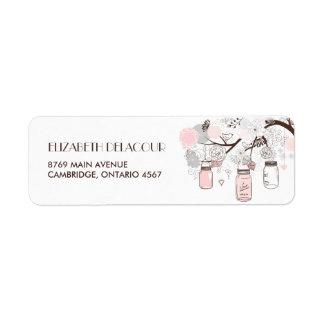 Rougissent l'étiquette de adresse floral rose de étiquettes d'adresse retour