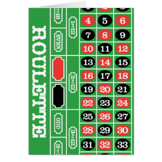 Roulette Table - Casino Gamble To Win Card
