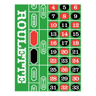 Roulette Table - Casino Gamble To Win Postcard
