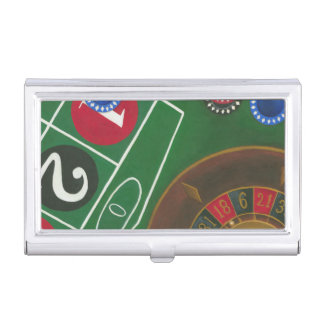 Roulette Table with Chips and Wheel Business Card Case