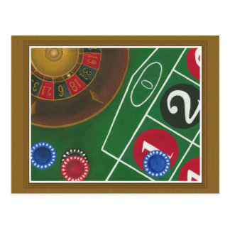Roulette Table with Chips and Wheel Postcard
