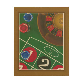 Roulette Table with Chips and Wheel Wood Wall Art