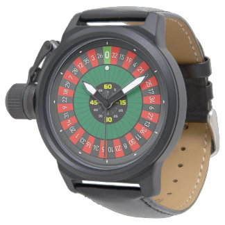 roulette wheel black leather watch