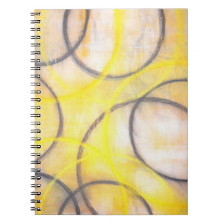 'Round About' Grey and Yellow Abstract Notebook