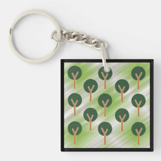 Round Abstract Trees Keychain