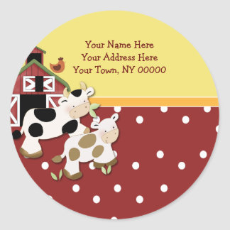 Round Address Labels Baby Moo Cow Red Round Sticker