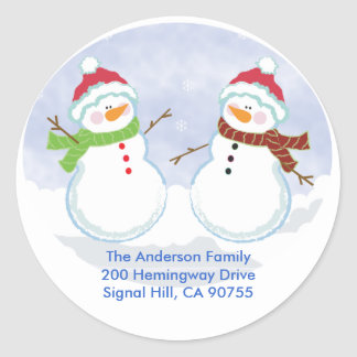 ROUND ADDRESS LABELS Cute Snowman Holiday