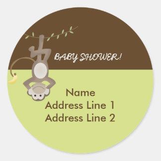Round Address Labels Monkeying Around Green/Brown