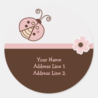 Round Address Labels PINK TRENDY LADYBUG