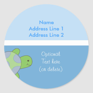 Round Address Labels Sea Turtle Light & Dark Blue