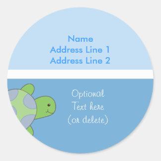Round Address Labels Sea Turtle Light Dark Blue Round Sticker