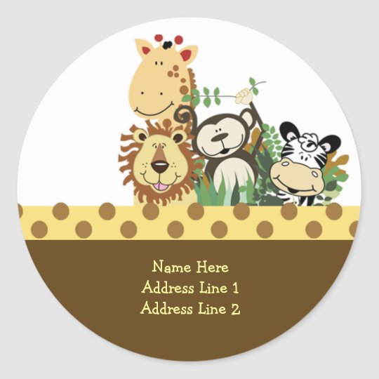 Round Address Labels ZOO CREW STICKERS