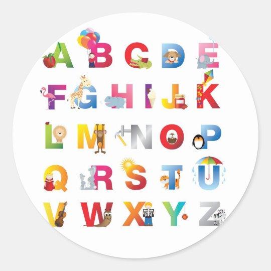 round alphabet sticker