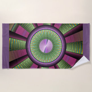 Round And Colorful Modern Decorative Fractal Art Beach Towel