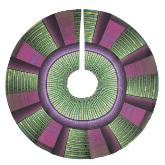 Round And Colorful Modern Decorative Fractal Art Brushed Polyester Tree Skirt