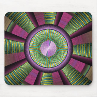 Round And Colorful Modern Decorative Fractal Art Mouse Pad