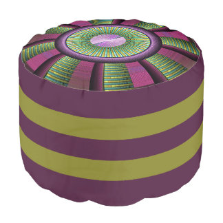 Round And Colorful Modern Decorative Fractal Art Pouf