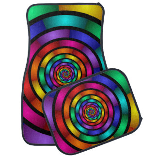 Round and Psychedelic Colorful Modern Fractal Art Car Mat