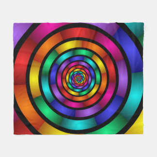 Round and Psychedelic Colorful Modern Fractal Art Fleece Blanket