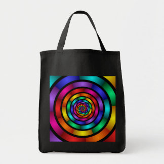 Round and Psychedelic Colorful Modern Fractal Art Tote Bag