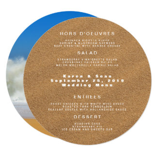 Round Beach Sand Four Course Custom Wedding Menu Card