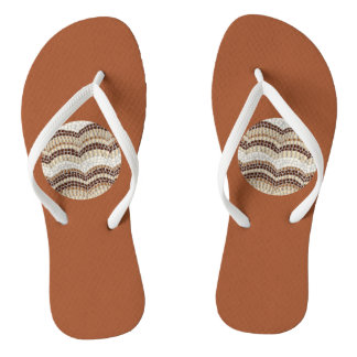 Round Beige Mosaic Adult Slim Straps Flip Flops