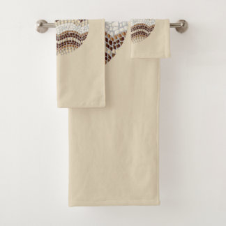 Round Beige Mosaic Bathroom Towel Set
