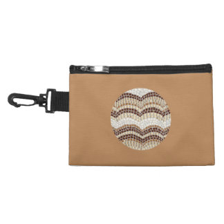 Round Beige Mosaic Clip-On Accessory Bag