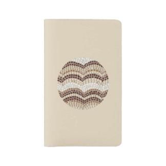 Round Beige Mosaic Large Notebook