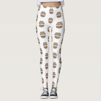 Round Beige Mosaic Leggings