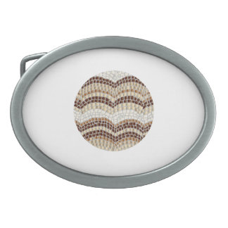 Round Beige Mosaic Oval Belt Buckle