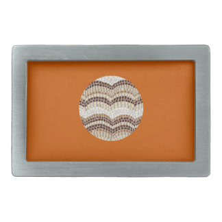 Round Beige Mosaic Rectangle Belt Buckle