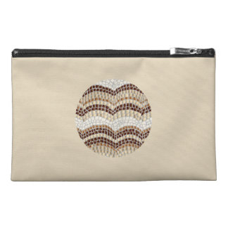Round Beige Mosaic Travel Accessory Bag