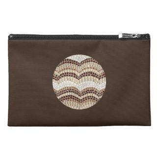 Round Beige Mosaic Travel Accessory Bag