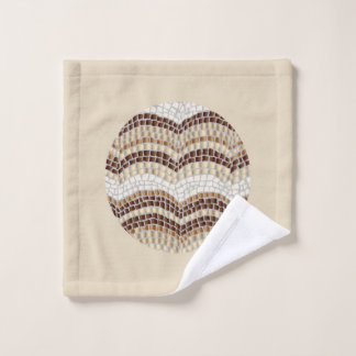 Round Beige Mosaic Wash Cloth