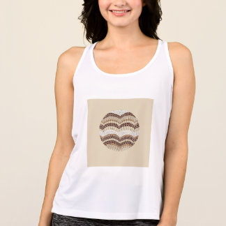 Round Beige Mosaic Women's Sports Tank Top