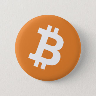 Round Bitcoin logo sign pinback buttons