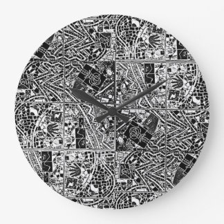 ROUND BLACK AND WHITE ABSTRACT CLOCK