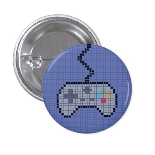 Round Blocky Gamepad Button with blue Background