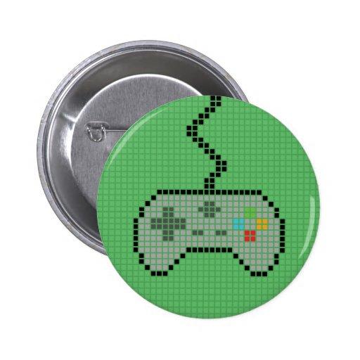 Round Blocky Gamepad Button with green Background