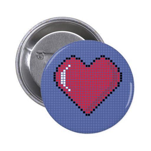 Round Blocky Heart Button with Blue Background