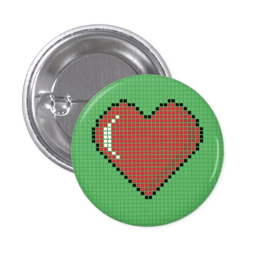 Round Blocky Heart Button with green Background
