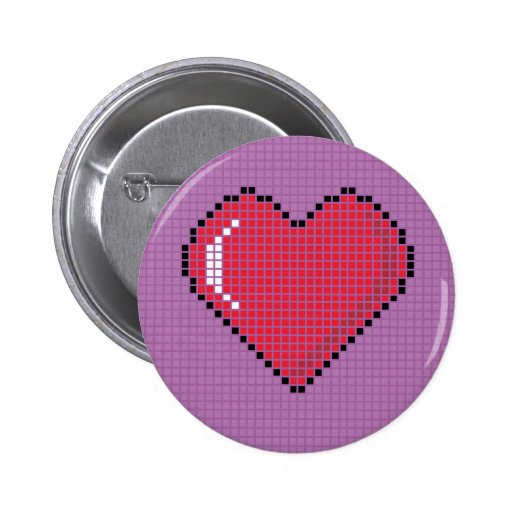 Round Blocky Heart Button with purple Background
