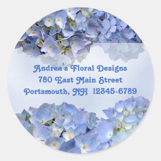 Round Blue Floral Return Address Labels